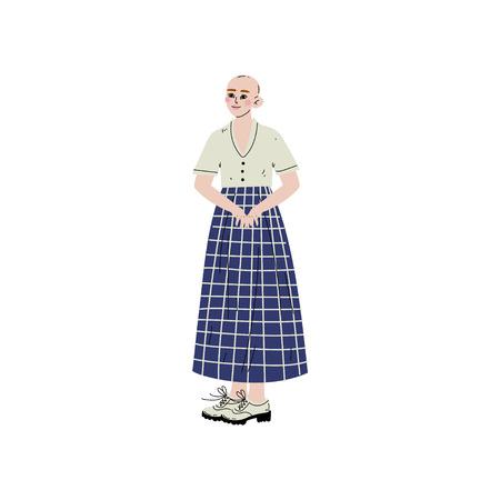 Fair Skinned Bald Girl, Female Character Loving Her Body, Self Acceptance, Beauty Diversity, Body Positive Vector Illustration on White Background. Illustration