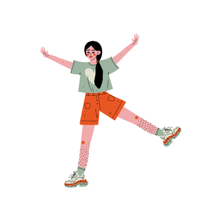 Cheerful Young Woman Showing Hairy Legs, Female Character Loving Her Body, Self Acceptance, Beauty Diversity, Body Positive Vector Illustration on White Background.