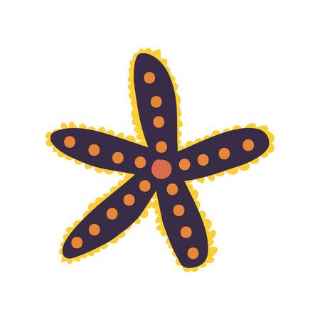 Starfish, Seaweed, Marine or Ocean Underwater Creature Vector Illustration