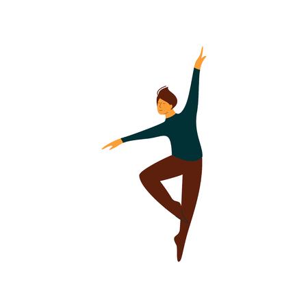 Male Ballet Dancer Performing Classical Ballet Dance Vector Illustration on White Background. Illustration