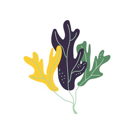 Unterwasser-Algen, Marine-Aglae-Pflanze-Vektor-Illustration auf weißem Hintergrund. Vektorgrafik