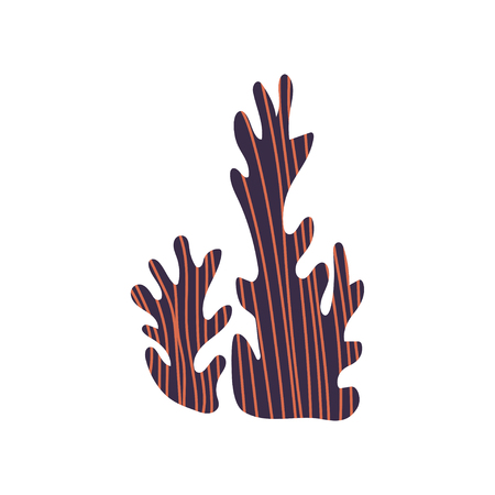 Seaweed Underwater Natural Plant Vector Illustration Isolated on White Background. Stok Fotoğraf - 125148343