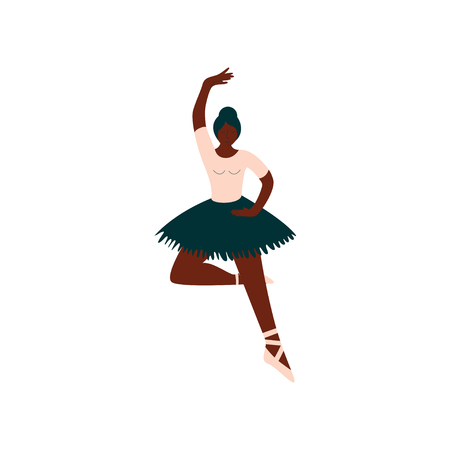Young African American Female Ballerina Dancing Classical Ballet Dance Vector Illustration on White Background.