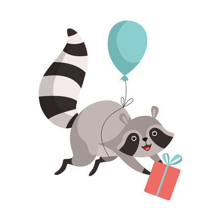 Cute Raccoon Flying with Balloon with Gift Box, Funny Humanized Grey Coon Animal Character Vector Illustration on White Background.