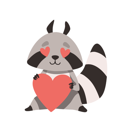 Cute Raccoon with Heart Shaped Eyes Holding Red Heart, Funny Humanized Grey Coon Animal Character in Love Vector Illustration on White Background.