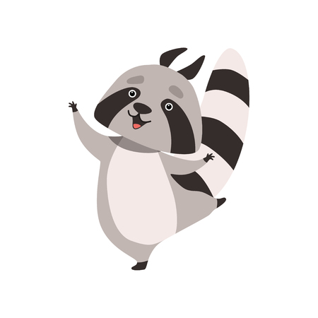 Funny Raccoon, Happy Humanized Grey Coon Animal Character Having Fun Vector Illustration on White Background. Illustration