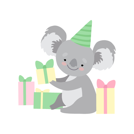 Cute Koala Bear Wearing Party Hat Sitting with Gift Boxes, Funny Grey Humanized Animal Character Vector Illustration on White Background. Stock Illustratie