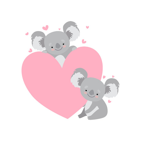 Two Cute Baby Koala Bears with Big Pink Heart, Funny Grey Animal Character Vector Illustration on White Background.