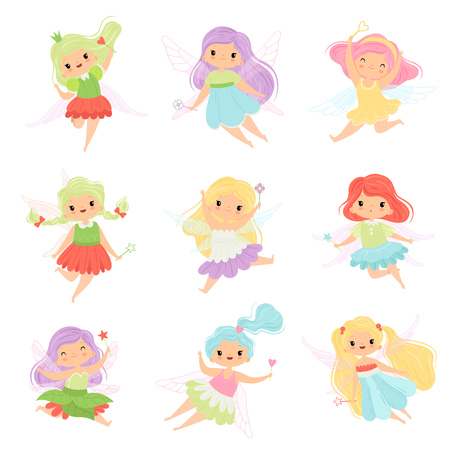 Cute Little Fairies in Colorful Dresses set, Beautiful Winged Flying Girls Vector Illustration on White Background.