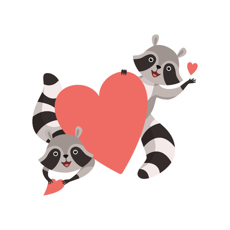 Cute Little Raccoons Holding Big Red Heart, Funny Humanized Grey Coon Animal Character Vector Illustration on White Background.