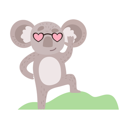 Cute Koala Bear in Heart Shaped Glasses, Funny Grey Animal Character Vector Illustration on White Background. Ilustração