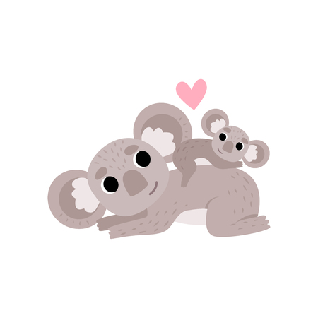 Cute Mother Koala Bear and Its Baby, Funny Grey Animal Character Vector Illustration on White Background.