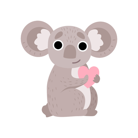 Cute Koala Bear Holding Pink Heart, Funny Grey Animal Character Vector Illustration on White Background.