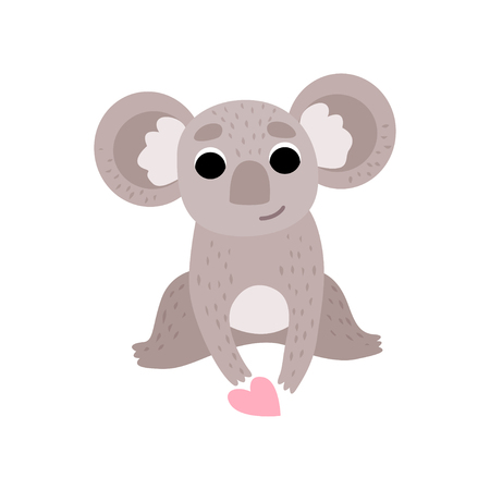 Cute Koala Bear Sitting with Pink Heart, Funny Grey Animal Character Vector Illustration on White Background.