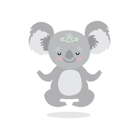Cute Koala Bear Meditating, Sweet Grey Humanized Animal Character Vector Illustration on White Background. Ilustração