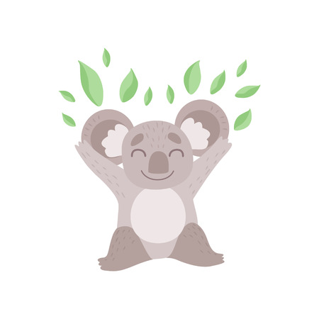 Cute Koala Bear Playing with Eucalyptus Leaves, Funny Grey Animal Character Vector Illustration on White Background.