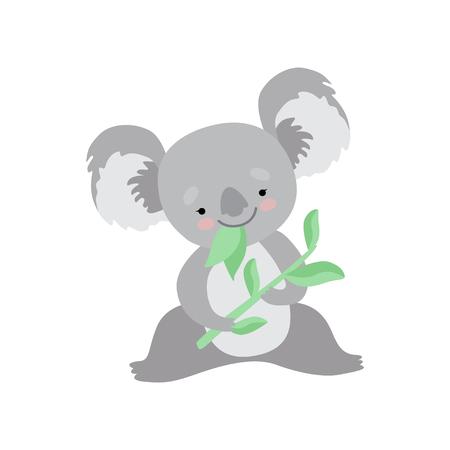 Cute Koala Bear Eating Eucalyptus Leaves, Funny Grey Animal Character Vector Illustration on White Background. Stock Illustratie