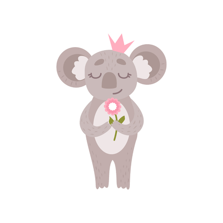 Cute Princess Koala Bear Wearing Pink Crown Standing with Flower, Funny Humanized Grey Animal Character Vector Illustration on White Background.