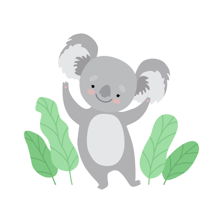 Cute Cheerful Koala Bear Standing on Two Legs, Funny Grey Animal Character Vector Illustration on White Background.