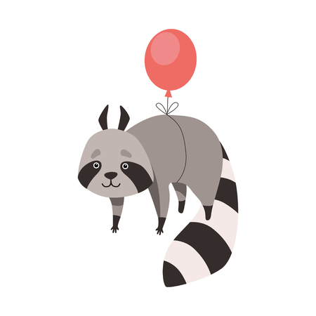 Cute Raccoon Flying with Balloon, Funny Humanized Grey Coon Animal Character Vector Illustration on White Background.