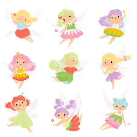 Cute Little Fairies in Colorful Dresses set, Lovely Winged Flying Girls with Magic Wands Vector Illustration on White Background.