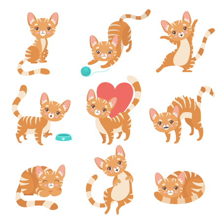 Cute Funny Red Cat Character in Various Poses and Situations Set Vector Illustration on White Background. Illustration