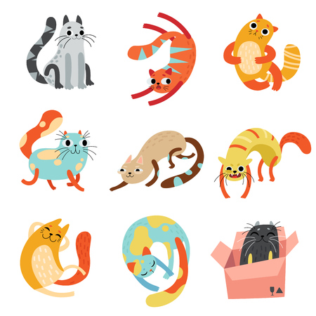 Collection of Cute Funny Cats in Different Poses Vector Illustration on White Background. Illustration