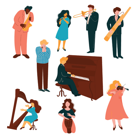 Musicians Characters set, People Playing on Classic Music Instruments Vector Illustration