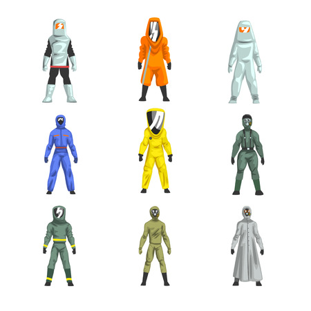 Different Workers in Protective Suits Set, Men in Professional Protective Uniform Vector Illustration on White Background.