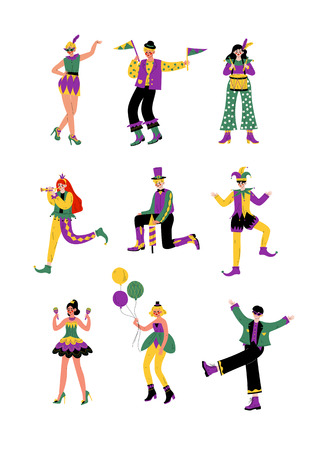 Circus Artists Set, Stage Comedian Performer in Bright Costumes Performing at Show Vector Illustration on White Background.