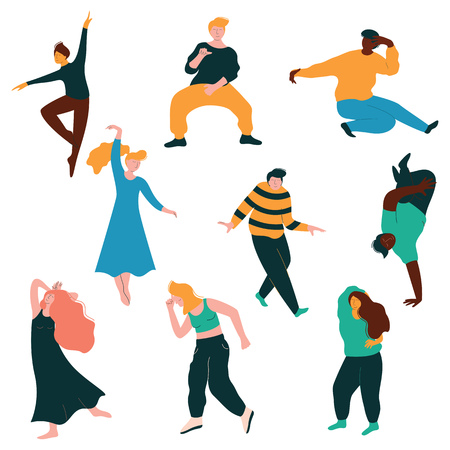 Dancing People Collection, Young Men and Women Dancing Modern and Classical Dance, Male and Female Characters Having Fun at Party Vector Illustration on White Background. Иллюстрация