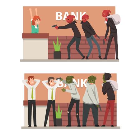 Conjunto de robo de banco, ladrones enmascarados armados que amenazan a los empleados que cometen robo ilustración vectorial sobre fondo blanco. Ilustración de vector