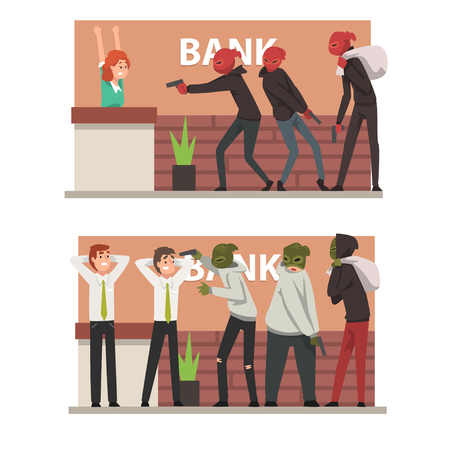 Bank Robbery Set, Armed Masked Burglars Threatening Employees Committing Theft Vector Illustration on White Background.