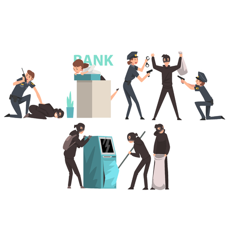 Bank Robbery Set, Armed Masked Burglars Stealing Money from ATM, Police Arresting Criminals Vector Illustration on White Background.