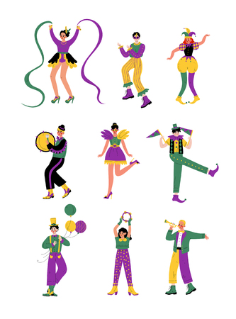 Circus Artists Set, Comedian Performer in Bright Colorful Costumes Performing at Show Vector Illustration on White Background.