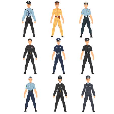 Ensemble d'officiers de police, uniforme de policiers de différents pays Vector Illustration sur fond blanc. Vecteurs