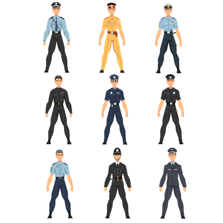 Police Officers Set, Uniform of Policemen of Different Countries Vector Illustration on White Background.