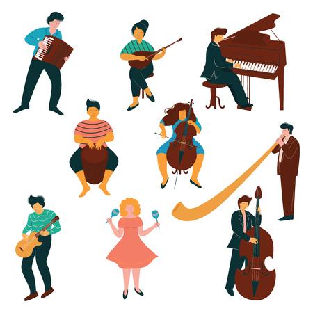 Männliche und weibliche Musiker-Charaktere eingestellt, Leute, die auf klassischen und modernen Instrumenten-Vektor-Illustration auf weißem Hintergrund spielen.