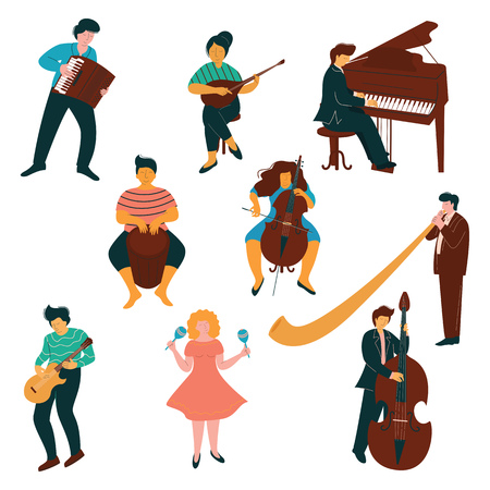Set di caratteri di musicisti maschili e femminili, persone che giocano su strumenti classici e moderni illustrazione vettoriale su sfondo bianco.