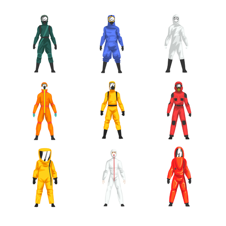Different Workers in Protective Suits and Helmets Set, Professional Protective Uniform Vector Illustration on White Background.