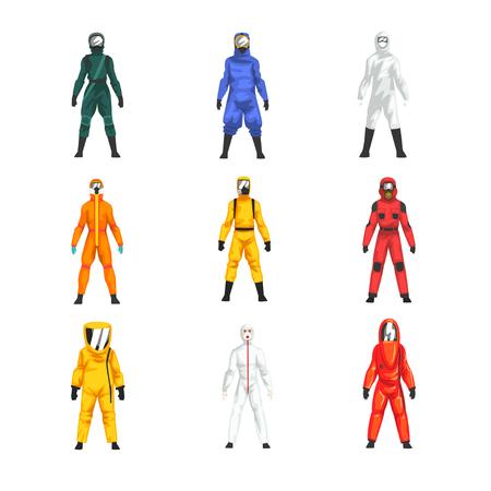 Diversi lavoratori in tute protettive e caschi impostati, illustrazione vettoriale uniforme protettiva professionale su sfondo bianco. Vettoriali