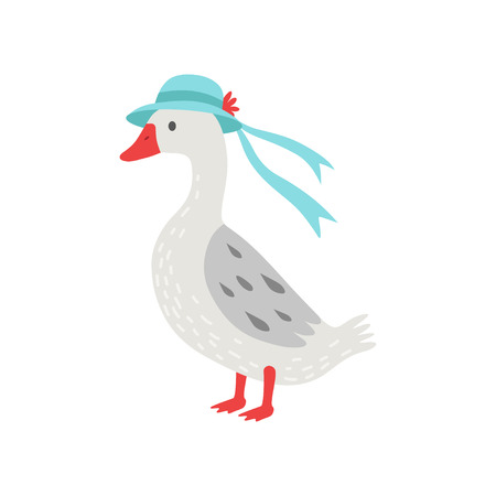 Beautiful White Goose Cartoon Character Wearing Elegant Hat With Ribbon Vector Illustration on White Background.