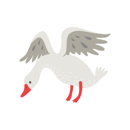 Cute White Goose Cartoon Character Flapping Its Wings Vector Illustration on White Background.