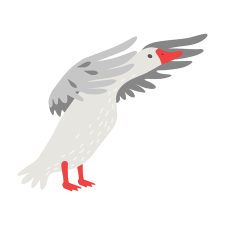 Cute White Goose Cartoon Character Flapping Its Gray Wings Vector Illustration on White Background. Ilustração