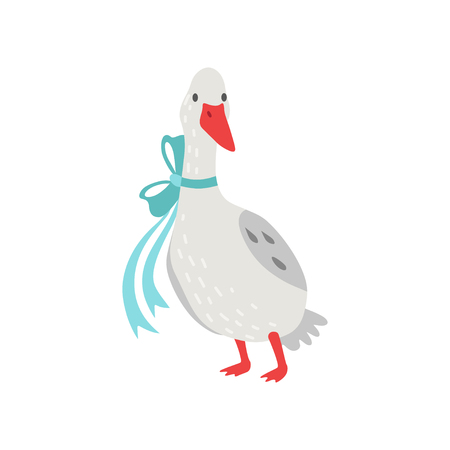 Cute White Goose Cartoon Character with Bow on its Neck Vector Illustration on White Background.
