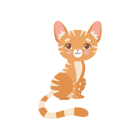 Lovely Striped Red Cat, Cute Kitten Animal Pet Character Vector Illustration on White Background.