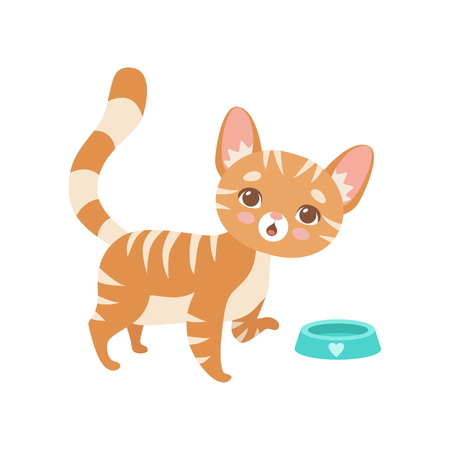 Striped Red Cat Eating, Cute Kitten Animal Pet Character Vector Illustration on White Background.