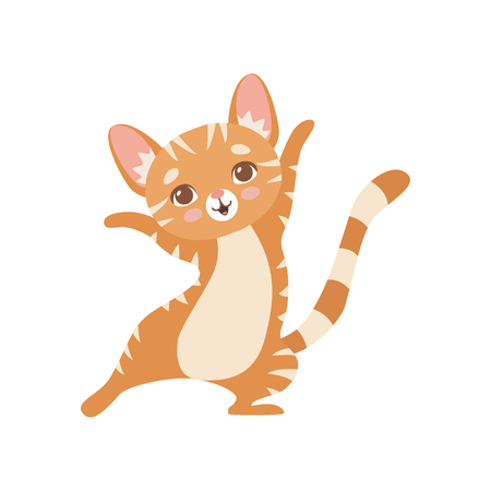 Happy Striped Funny Red Cat, Cute Kitten Animal Pet Character Standing on Two Legs Vector Illustration on White Background.