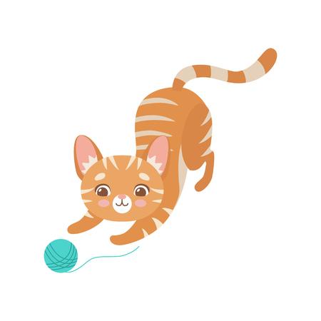 Divertido gato rojo rayado jugando con bola de hilo, lindo gatito animal mascota personaje vector ilustración sobre fondo blanco.