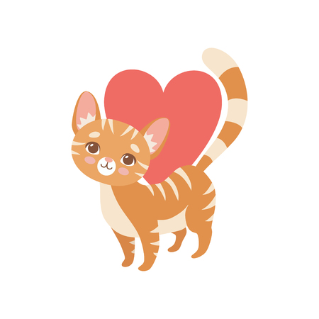Gatto rosso divertente a strisce con cuore rosso, illustrazione di vettore del carattere dell'animale domestico del gattino sveglio su cenni storici bianchi.